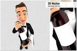 3D Wine Waiter Holding Wine Bottle