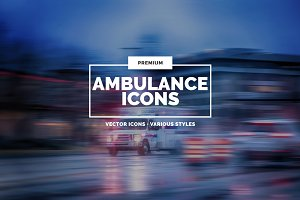 30 Ambulance Icons in 3 styles