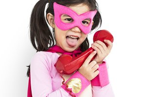 Superhero Girl Smile Telephone (PNG)
