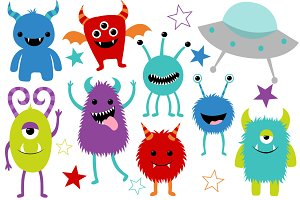 Cute Monster Clip Art Set