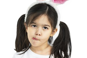 Little Girl With Bunny Ears (PNG)