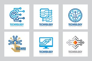 Computer Technology Vector Logo Set
