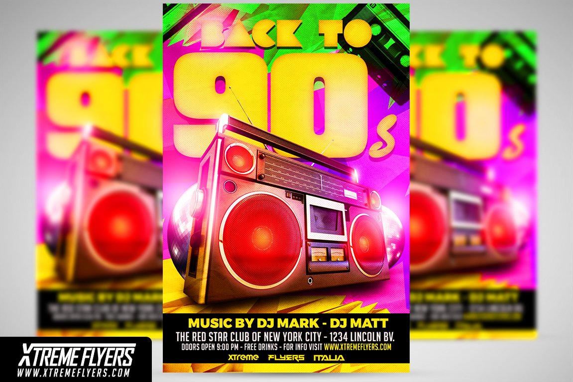 poster template 90 x 120cm - retro disco 90s flyer template flyer templates