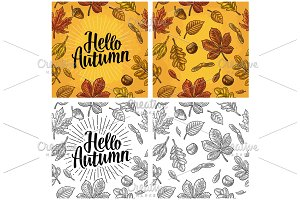 Seamless pattern leafs, acorn, chestnut and seed. Hello Autumn lettering.