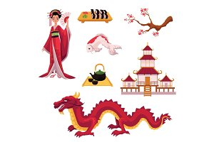 Set of cartoon Japanese culture elements, symbols