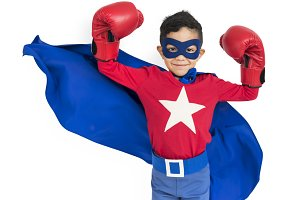 Little Boy in Superhero suit (PNG)