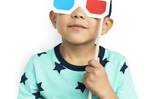 Little Boy With 3D Glasses (PNG)
