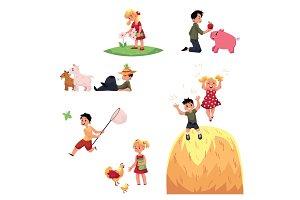 Happy children spend summer vacation in farm