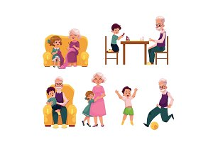 Grandparent spending time with grandchildren