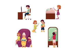 Kids, children home activities, doing chores