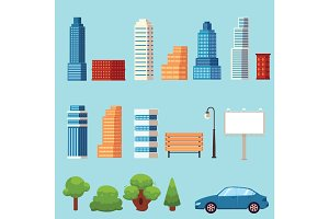 vector flat city urban objects set