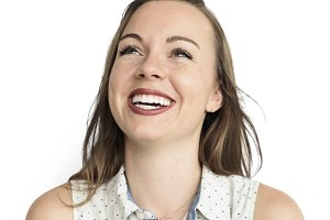 Caucasian Woman Smiling Happy (PNG)