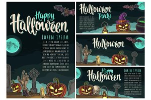 Posters poster with Halloween party calligraphy lettering. Vector engraving