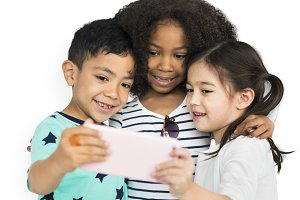 Little Children Selfie Posing (PNG)