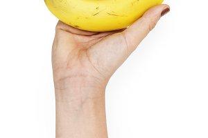 Hand hold banana (PNG)