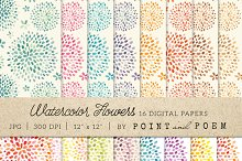 Watercolor Flowers Digital Paper