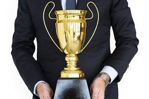 Man Holding Trophy Award (PNG)