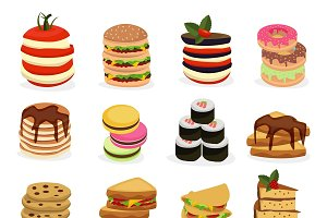 Meal Tower Icon Set