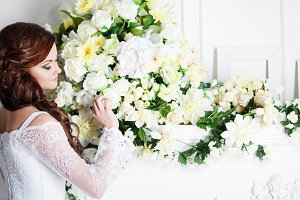 Portrait of beautiful bride. Wedding decoration