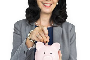 Businesswoman Smile Piggy Bank (PNG)