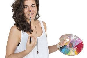 Caucasian Lady Paint Palettes (PNG)
