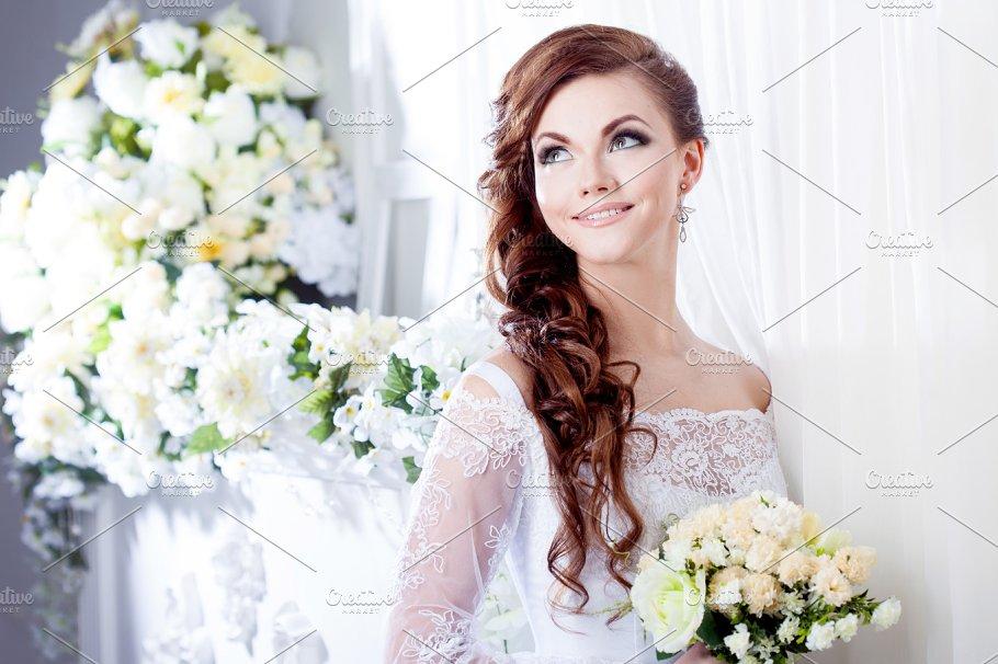Portrait Of Beautiful Bride Wedding Dress Decoration Beauty