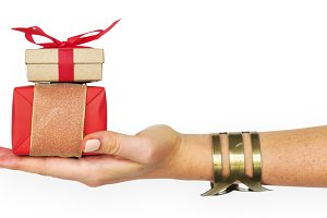 Wrapped Gift in Hand (PNG)