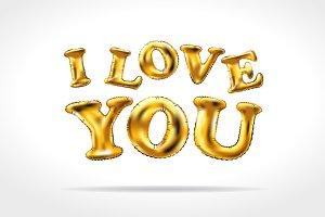 vector Gold I love you balloon