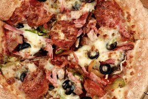 Pepperoni and Black Olives Pizza