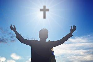 man open hands and cross