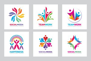 Teamwork Friendship Vector Logo Set