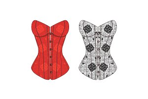 Corset Lace Set. Vector