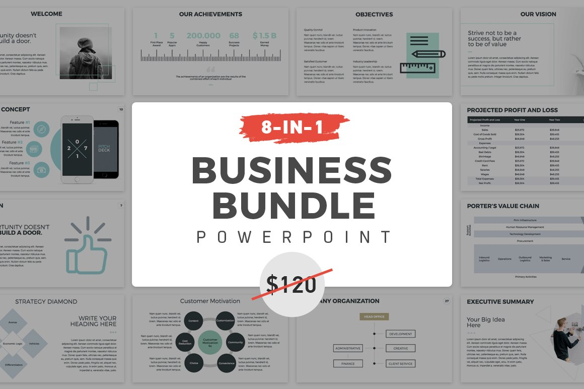 8-in-1 PowerPoint Bundle ~ Presentation Templates ~ Creative Market