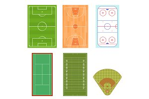 Fieldes Set Top View. Vector