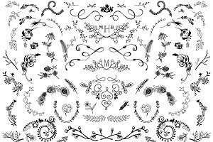 Hand Drawn Wreaths Flowers Vectors
