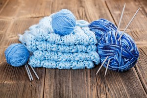 Blue clew with needles
