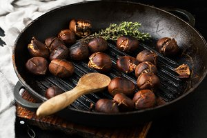 Grilled chestnuts