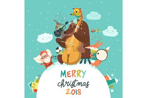 Cute Merry christmas card with animals, Santa and music