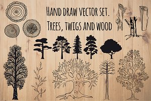 Set of hand drawn trees and wood.