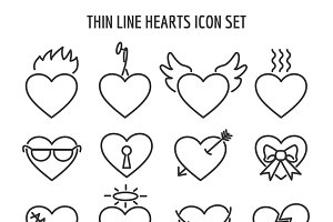 Thin line heart icons