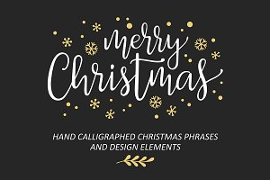 Christmas hand lettering vector set