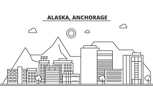 Alaska, Anchorage architecture line skyline illustration. Linear vector cityscape with famous landmarks, city sights, design icons. Landscape wtih editable strokes