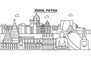 India, Patna architecture line skyline illustration. Linear vector cityscape with famous landmarks, city sights, design icons. Editable strokes