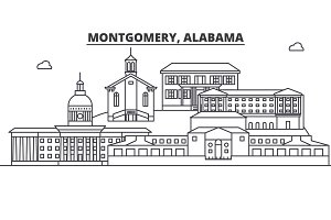 Alabama, Montgomery architecture line skyline illustration. Linear vector cityscape with famous landmarks, city sights, design icons. Landscape wtih editable strokes