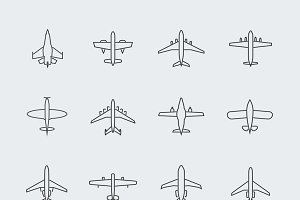 Aviation thin line icons