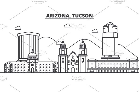 Arizona Tucson Architecture Line Skyline Illustration Linear Vector Cityscape With Famous Landmarks City Sights Design Icons Landscape Wtih Editable Strokes