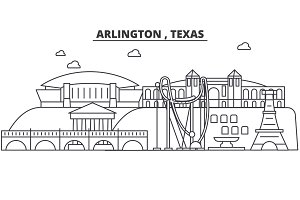 Arlington , Texas architecture line skyline illustration. Linear vector cityscape with famous landmarks, city sights, design icons. Landscape wtih editable strokes