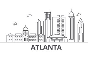 Atlanta architecture line skyline illustration. Linear vector cityscape with famous landmarks, city sights, design icons. Landscape wtih editable strokes