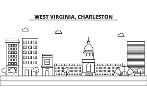 West Virginia, Charleston architecture line skyline illustration. Linear vector cityscape with famous landmarks, city sights, design icons. Landscape wtih editable strokes