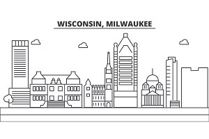 Wisconsin, Milwaukee City architecture line skyline illustration. Linear vector cityscape with famous landmarks, city sights, design icons. Landscape wtih editable strokes